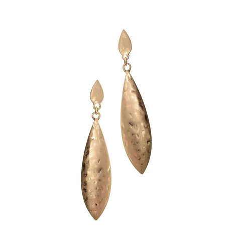 Hot Tomato Textured  Worn Gold Cocoon Earrings