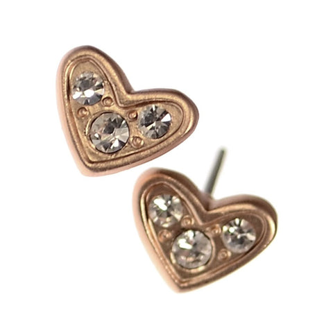 Hot Tomato Triptych Crystal Matt Gold Heart Stud Earrings