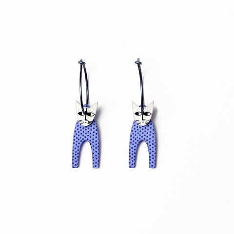 Lene Lundberg K-Form Purple Spotted Cat Earrings