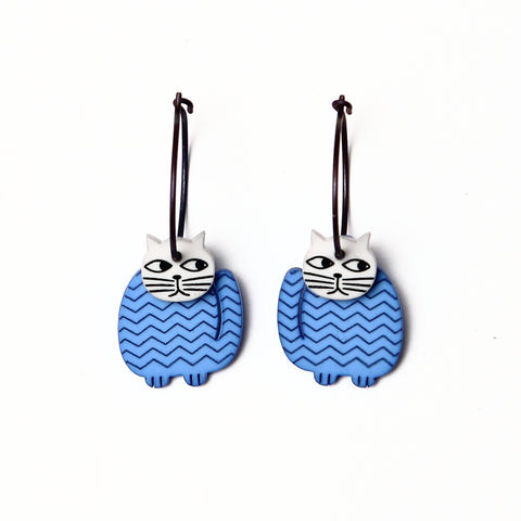 Lene Lundberg K-Form Blue Fat Cat Earrings