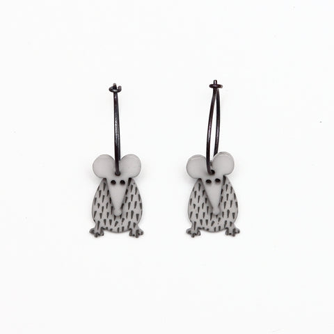 Lene Lundberg K-Form Grey Mice Earrings