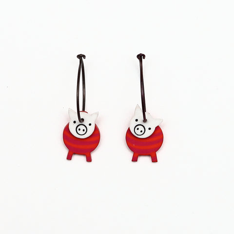 Lene Lundberg K-Form Red Stripey Pig Earrings