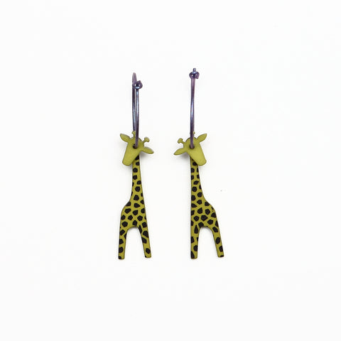 Lene Lundberg K-Form Chartreuse Giraffe Earrings