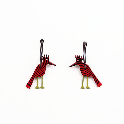 Lene Lundberg K-Form Red Stripey Bird Earrings