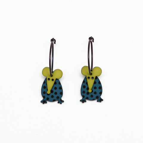 Lene Lundberg K-Form Teal/Chartreuse Mice Earrings