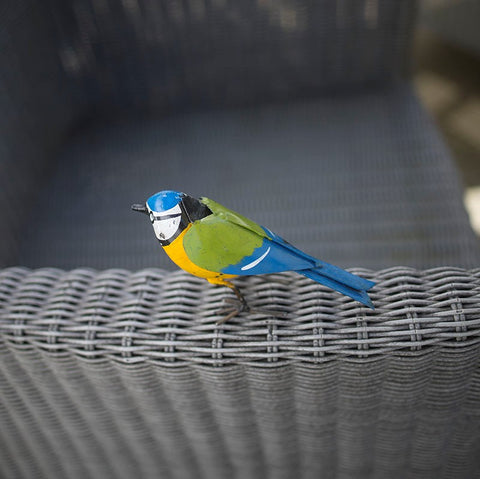 Small Metal Blue Tit on chair