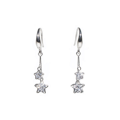Gracee Silver Finish Hook Earrings with Crystal Star Drops