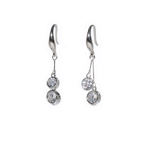 Gracee Silver Finish Hook Earrings with Round Crystal Drops