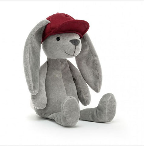 Jellycat Bashful Hip Hop Bunny grey with red cap