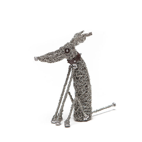 Knitted Wire Sitting Hound Sculpture by Sarah Jane Brown