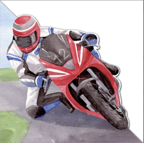 Motorcycle Rider Greeting Card from Flamingo