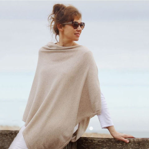 Italian Wool/Cashmere Mix Latte Poncho from Cadenza