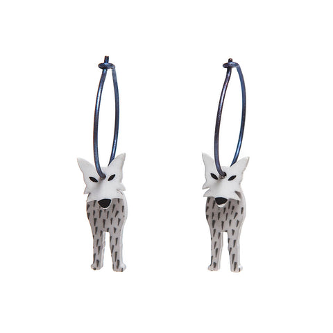 Lene Lundberg K Form Grey Wolf Earrings