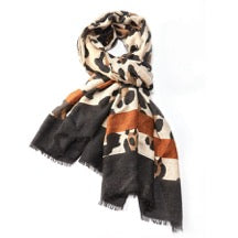 Stylish Brown and Cream Leopard Print Scarf