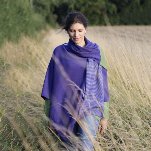 Italian Wool/Cashmere Mix Lilac Poncho from Cadenza