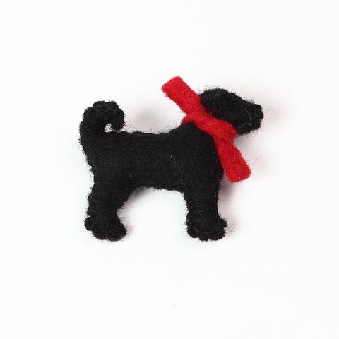 Little Black Labrador Brooch with Red Collar