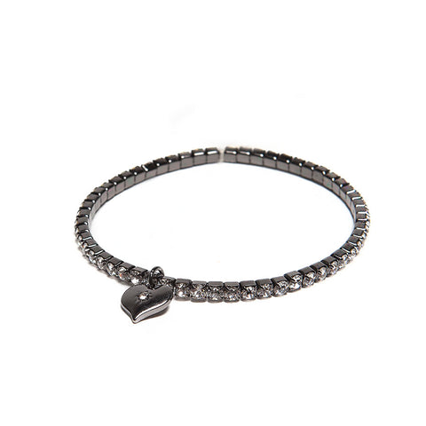 Lovett Clear Swarovski Crystal Gunmetal Stretch Bracelet