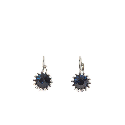 Lovett Deep Blue Swarovski Crystal on Silver French Wire Earrings