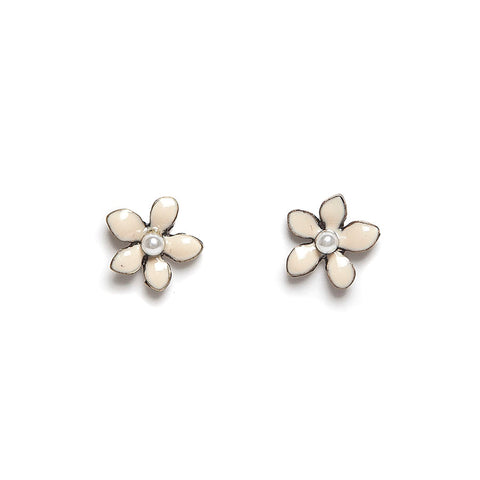 Lovett Cream Enamel Flower Stud Earrings
