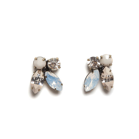 Lovett Opaque and Clear Crystal Floral Earrrings