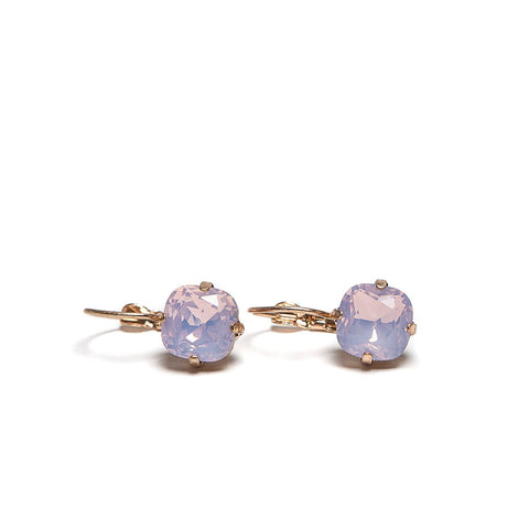 Lovett Pink Cushion Crystal French Wire Earrrings
