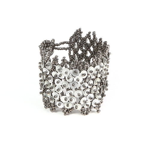 Matt Silver Sequin Button-Fastening Bracelet