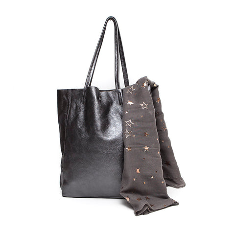 Italian Leather Pewter Soft Slouchy Handbag with Scarf