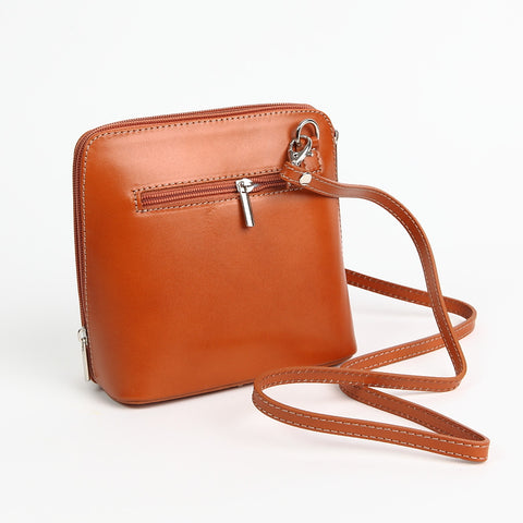 Genuine Leather Small Shoulder Bag in Light Tan