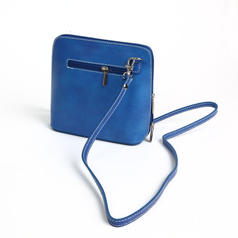 Genuine Leather Small Shoulder Bag in Cobalt Blue