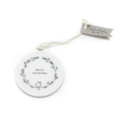 East of India Ceramic Flat Disc 'Merry Christmas' Decoration