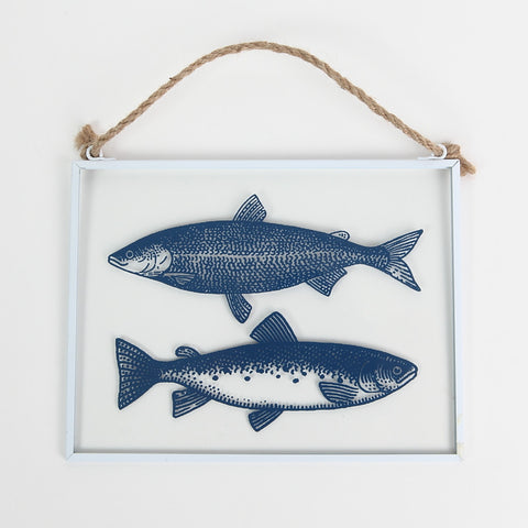 Glass Hanger Fish Decoration in Blue by Gisela Graham