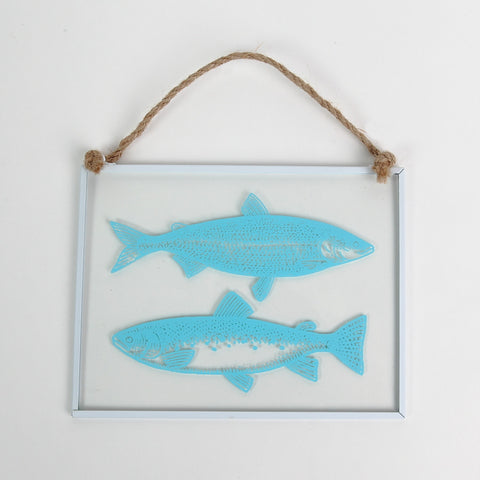 Glass Hanger Fish Decoration in Turquoise by Gisela Graham