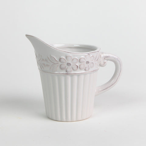 Stylish Floral Embossed Cream Jug by Gisela Graham