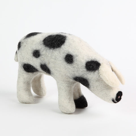 Black and White Spotted Felt Pig by Amica