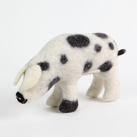 Black and White Spotted Felt Pig