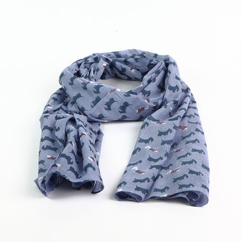 Shruti Lilac Cotton Scottie Dog Scarf