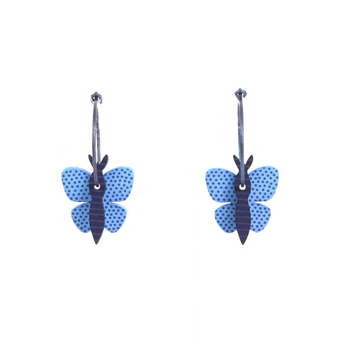 Lene Lundberg K-Form Blue Butterfly Earrings