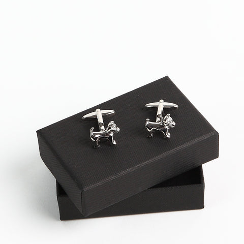 Silver Finish Scottie Dog Cufflinks with box