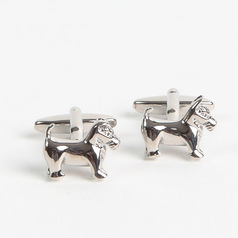 Silver Finish Scottie Dog Cufflinks