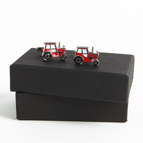 Red Tractor Cufflinks with box