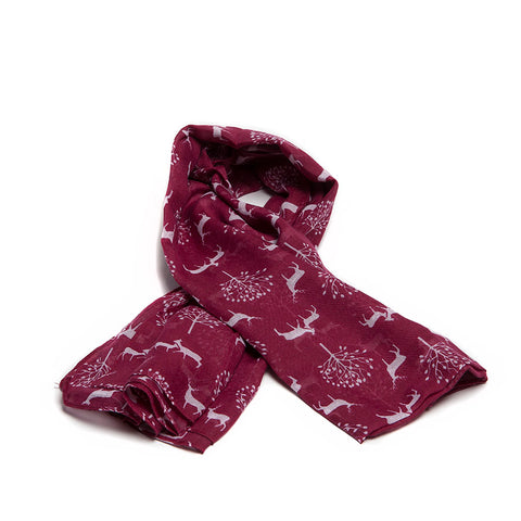 Red Scarf with Delicate Deer and Tree Design