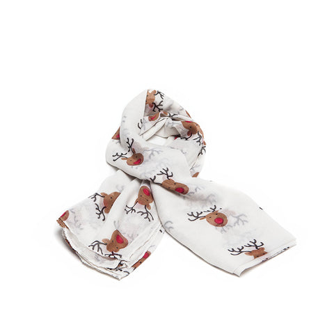 Cream Scarf with Cute Festive Reindeer Design