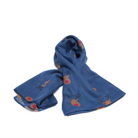 Navy Blue Scarf with Cute Festive Reindeer Design