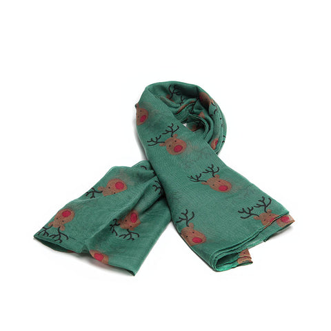 Dark Green Scarf with Cute Festive Reindeer Design