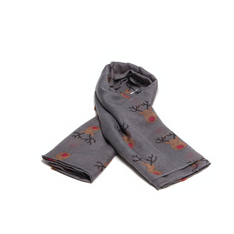 Dark Grey Scarf with Cute Festive Reindeer Design