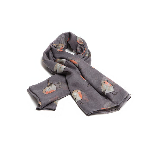 Grey Scarf with Watercolour Robins Design