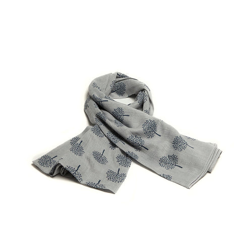 Grey Scarf with Navy Mulberry Tree Design