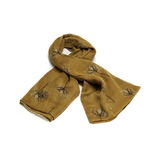 Mustard Scarf with Delicate Autumnal Trees Design
