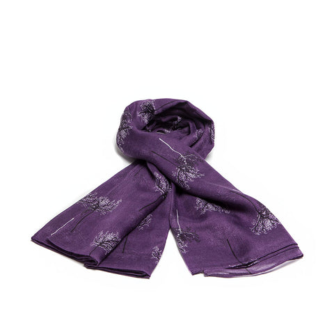 Deep Purple Scarf with Delicate Autumnal Trees Design