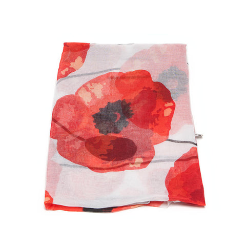 Cream Scarf with Huge Red Poppy Design